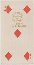 Five Diamonds (red), from the Playing Cards series (N84) for Duke brand cigarettes, 1888., 1888. Creator: Unknown.