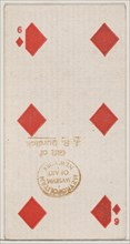 Six Diamonds (red), from the Playing Cards series (N84) for Duke brand cigarettes, 1888., 1888. Creator: Unknown.