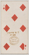 Seven Diamonds (red), from the Playing Cards series (N84) for Duke brand cigarettes, 1888., 1888. Creator: Unknown.