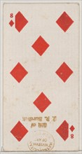 Eight Diamonds (red), from the Playing Cards series (N84) for Duke brand cigarettes, 1888., 1888. Creator: Unknown.