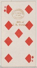 Nine Diamonds (red), from the Playing Cards series (N84) for Duke brand cigarettes, 1888., 1888. Creator: Unknown.