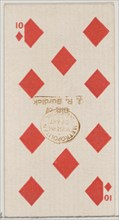 Ten Diamonds (red), from the Playing Cards series (N84) for Duke brand cigarettes, 1888., 1888. Creator: Unknown.