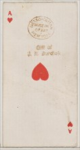 Ace of Hearts (red), from the Playing Cards series (N84) for Duke brand cigarettes, 1888., 1888. Creator: Unknown.