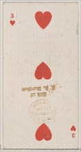 Three Hearts (red), from the Playing Cards series (N84) for Duke brand cigarettes, 1888., 1888. Creator: Unknown.