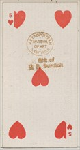 Five Hearts (red), from the Playing Cards series (N84) for Duke brand cigarettes, 1888., 1888. Creator: Unknown.