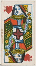 Queen of Hearts (red), from the Playing Cards series (N84) for Duke brand cigarettes, 1888., 1888. Creator: Unknown.