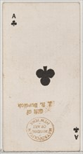 Ace of Clubs (black), from the Playing Cards series (N84) for Duke brand cigarettes, 1888., 1888. Creator: Unknown.