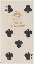 Seven Clubs (black), from the Playing Cards series (N84) for Duke brand cigarettes, 1888., 1888. Creator: Unknown.