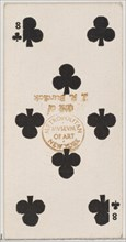 Eight Clubs (black), from the Playing Cards series (N84) for Duke brand cigarettes, 1888., 1888. Creator: Unknown.