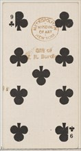 Nine Clubs (black), from the Playing Cards series (N84) for Duke brand cigarettes, 1888., 1888. Creator: Unknown.