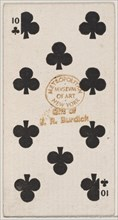 Ten Clubs (black), from the Playing Cards series (N84) for Duke brand cigarettes, 1888., 1888. Creator: Unknown.