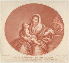 The Virgin seated with the infant Christ sleeping in her lap, Saint Elizabeth at right, an oval composition, after Reni, 1776.