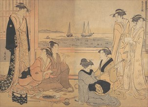 A Party of Merrymakers in a Tea-house at Shinagawa, ca. 1783.