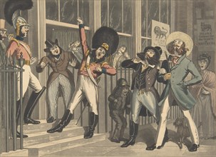 """The Rival Whiskers, ca. 1824. [""""They look not like the Inhabitants o' the Earth and yet are on't""""]."""