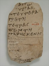 Ostrakon with Lists of the Days of the Week, Coptic, 580-640.