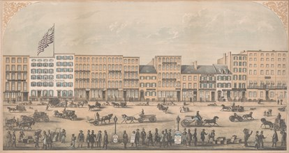 View of Park Place, New York, from Broadway to Church Street, North Side, A.D. 1854, 1854.