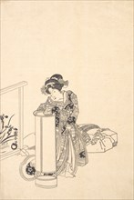 Young Woman Leaning over a Tall Lamp.