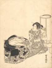 Courtesan or Actor as Courtesan Pouring Tea by the Light of a Lantern.