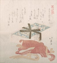 Box of Face Powder and Hair Ties; Specialities of Shimomura in Ryogaecho, 19th century.