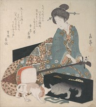 Woman Tuning a Shamisen and a Cat Looking at its Own Reflection , mid- 1820s.