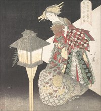 Courtesan by a Lantern, ?Fire,? from the series Five Elements for the Bunsai Poetry Group, a Guide to the Yoshiwara Pleasure Quarters , ca. 1820.