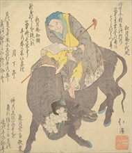 Chinese Sage Reading While Riding on a Buffalo, ca. 1820.