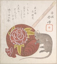 Mallet of Daikoku, One of the Gods of Good Fortune, and a Rat, probably 1828.