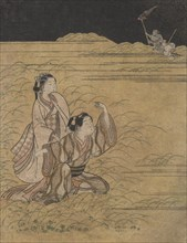 A Young Man and Woman in the Moor of Musashino; Parody of the Akuta River episode of the Tale of Ise (Ise monogatari), ca. 1765-66.