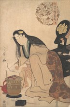 Lady Arranging Binsashi (Support for the Hair over the Temples) to put in Her Hair, ca. 1808.
