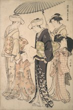 Two Women in Summer Costume Taking a Young Girl to a Shinto Temple for the Miya Mairi Ceremony, ca. 1783.