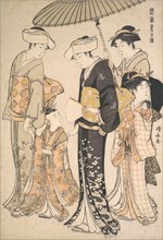 High-Ranking Samurai Girl with Four Attendants, from the series A Brocade of Eastern Manners (Fuzoku Azuma no nishiki), ca. 1784.