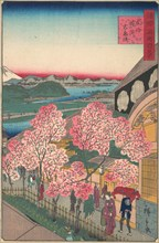 Entrance to the Gankiro Tea House in the Miyozaki District, Yokohama, Bushu, 3rd month, 1859.
