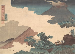 View of Mt. Asama from the Usui Pass, ca. 1850.