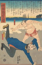 Sumo Wrestler Tossing a Foreigner, 1st month, 1861.