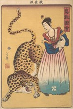 ?Dutchwoman with Leopard,? from the series Pictures of Birds and Animals (Choju zue) , 7th month, 1860.