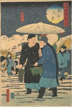 Snow at an Early Morning Market [Chinese shopping for vegetables], 1st month, 1861.