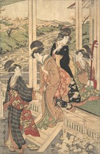Group of Women on the Engawa of a Country House, in the time of the Cherry Blossoming, ca. 1806.