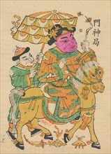 One hundred thirty-five woodblock prints including New Year's pictures (nianhua), door gods, historical figures and Taoist deities, 19th-20th century.
