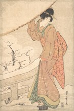 A Young Woman in a Snow Storm Carrying a Heavily Snow-Laden Umbrella, ca. 1802.