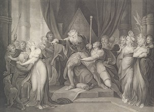 King Lear Casting Out His Daughter Cordelia (Shakespeare, King Lear, Act 1, Scene 1), first published 1792; reissued 1852.