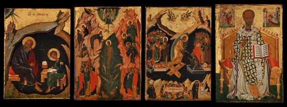 Four Icons from a Pair of Doors (Panels), possibly part of a Polyptych: John the Theologian and Prochoros, the Baptism (Epiphany), Harrowing of Hell (Anastasis), and Saint Nicholas, Byzantine, early 1...