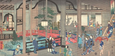 The Interior of the Gankiro Tea House in Yokohama, 1861 (April).