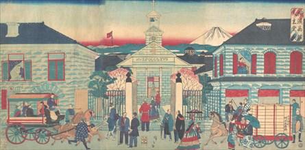 Illustration of Foreign Residences and the Catholic Church in Yokohama (Yokohama shokan tenshudo no zu), 10th month, 1870.