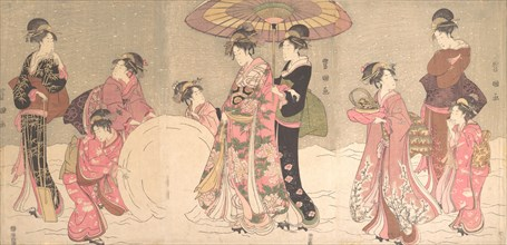 Courtesans and Attendants Making a Giant Snowball, ca. 1796.