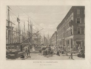 South Street from Maiden Lane, New York, in 1828, 1834.