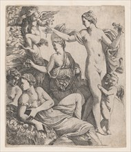 Venus, standing with the three Graces, is offered a flower from a putto, 1607-61.