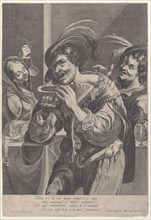 Man drinking soup while two people watch him, 1624-75.