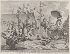 Plate 35: Philip of Spain as Neptune, riding in a chariot drawn by two sea horses; from Guillielmus Becanus's 'Serenissimi Principis Ferdinandi, Hispaniarum Infantis...', 1636.
