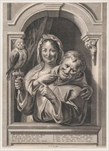 A Fool with an Owl and a Woman at a Window, 17th century.