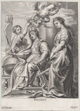 Allegory of Good Government, seated at center and being crowned by a putto and a woman at left, Justice standing atop a hydra at right, ca. 1640-74.